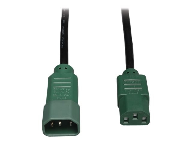 Tripp Lite Power Cord , 18AWG, C14 to C13, 4ft, Green, P004-004-GN, 13556471, Power Cords