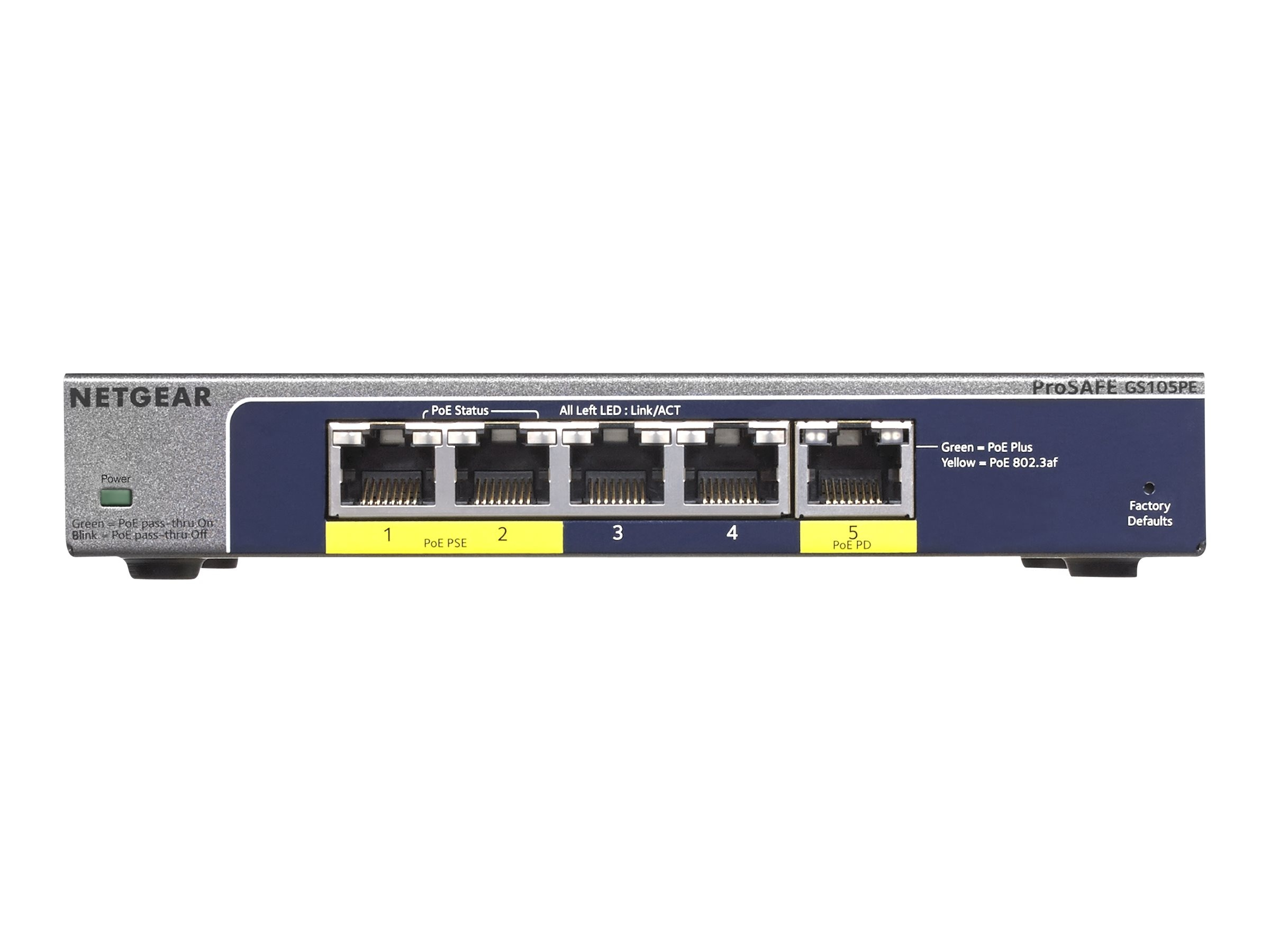 Netgear ProSafe 5-Port Gig Plus Switch w PoE Pass-Thru (No PS), GS105PE-10000S