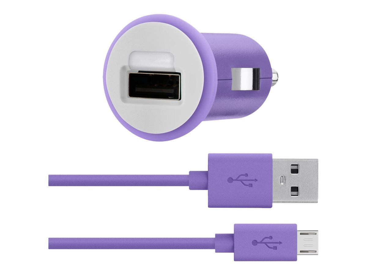 Belkin Car Charger, 30-Pin Charge Sync Cable, 10W 2.1A, Purple, F8J140BT04-PUR
