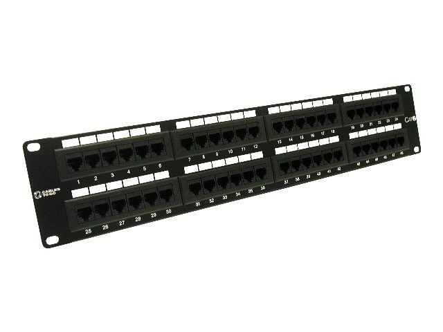 C2G CAT6 110-Type Patch Panel, 48-Port, Black, 37051, 5201469, Patch Panels