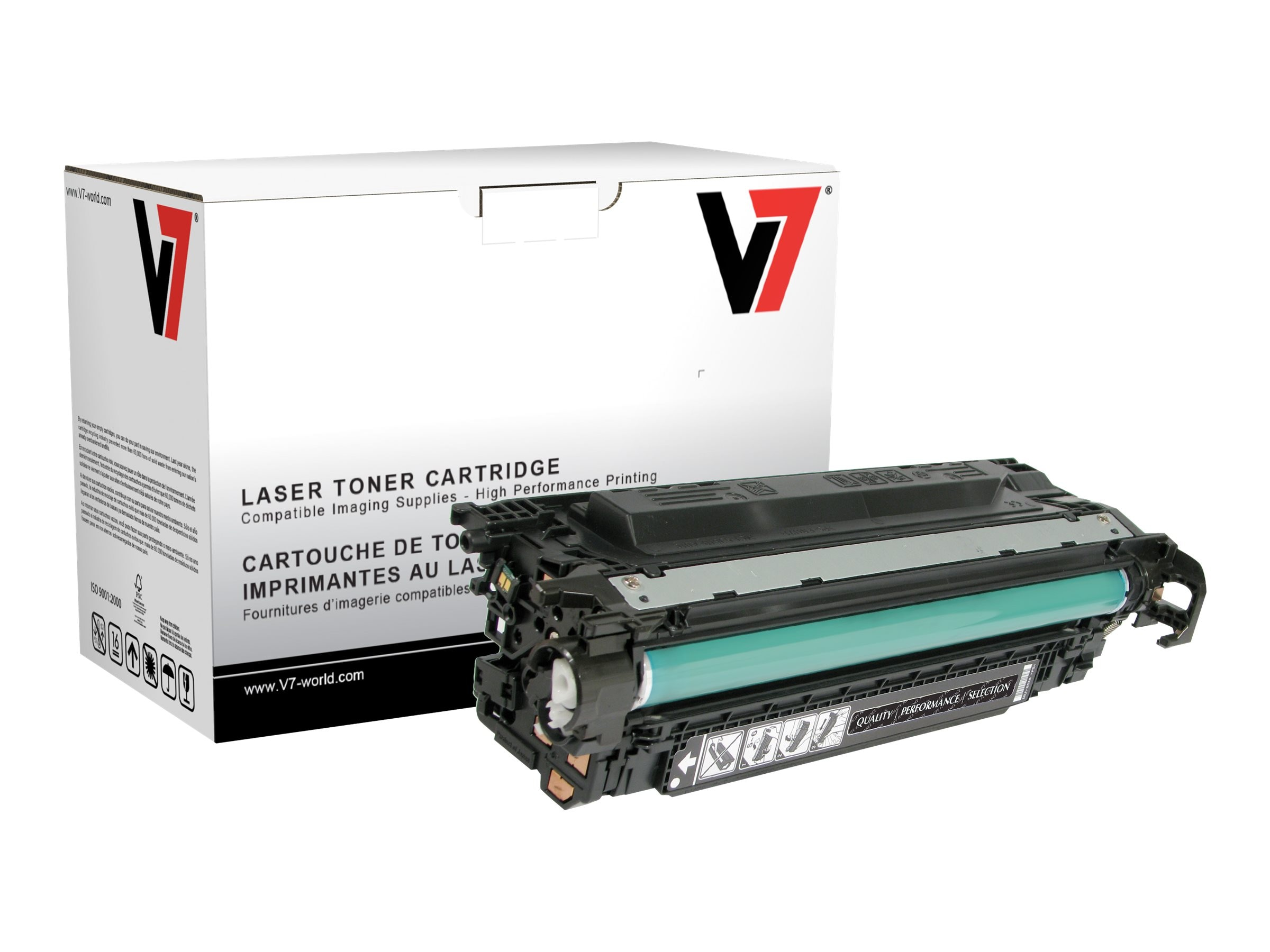 V7 CE250A Black Toner Cartridge for HP LaserJet CP3525 (TAA Compliant), THK23525