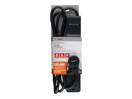 Belkin Surge Protector (6) Outlets 6ft Cord 360-degree Plug 720 Joules (Black), BSE600-06BLK-WM, 14432496, Surge Suppressors