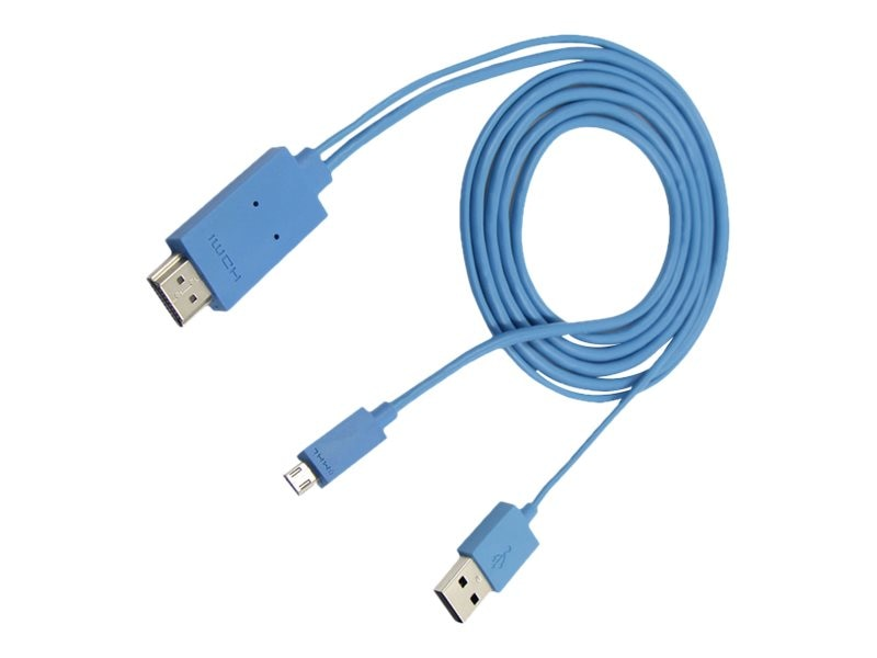 4Xem Micro USB to HDMI Adapter Cable for Samsung Galaxy S2 S3 S4 Note, Blue, 2m, 4XMHLS2S3B