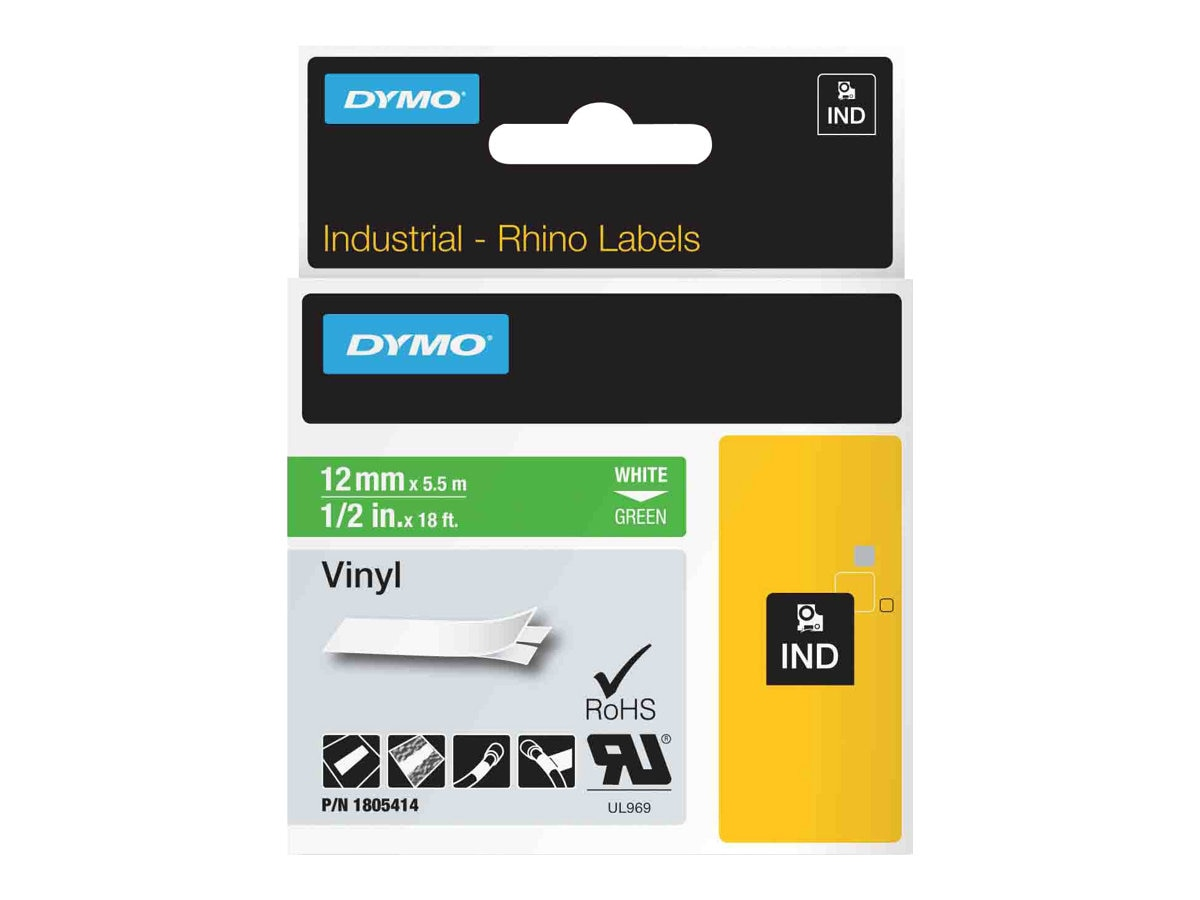 DYMO 1 2 Rhino Green Vinyl Labels, 1805414, 13202314, Paper, Labels & Other Print Media