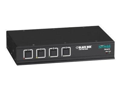Black Box ServSwitch Secure 4-port KVM Switch w Audio for PC's, SW4007A-USB, 8498093, KVM Switches