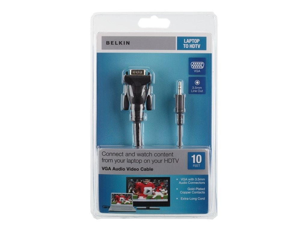 Belkin Audio Video UXGA-PC to TV Cable, HD-15 (M-M) and 3.5mm, 10ft, F3S007-10, 12101693, Cables