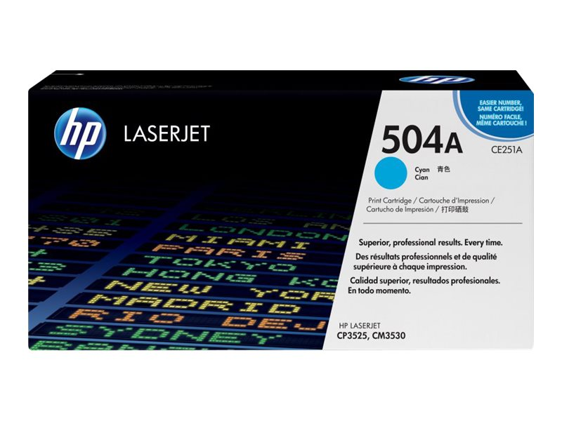 HP 504A (CE251A) Cyan Original LaserJet Toner Cartridge for HP Color LaserJet CP3525 & CM3530 MFP, CE251A, 8944209, Toner and Imaging Components