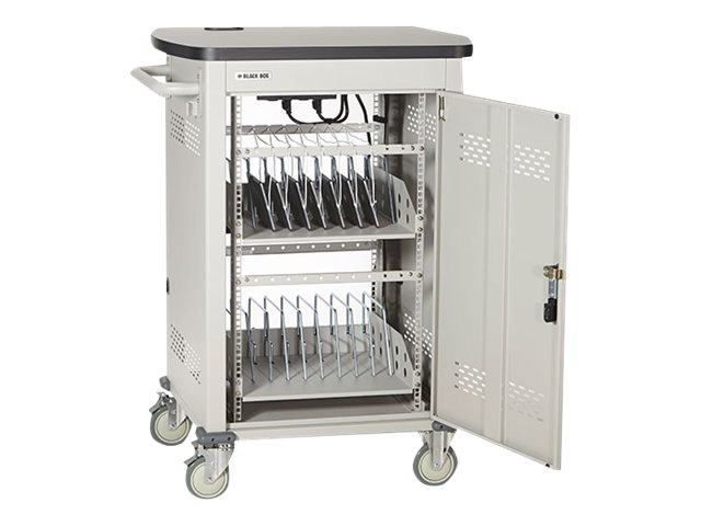 Black Box 18-Unit Laptop Chromebook Charging Cart with Hinged, Locking Door