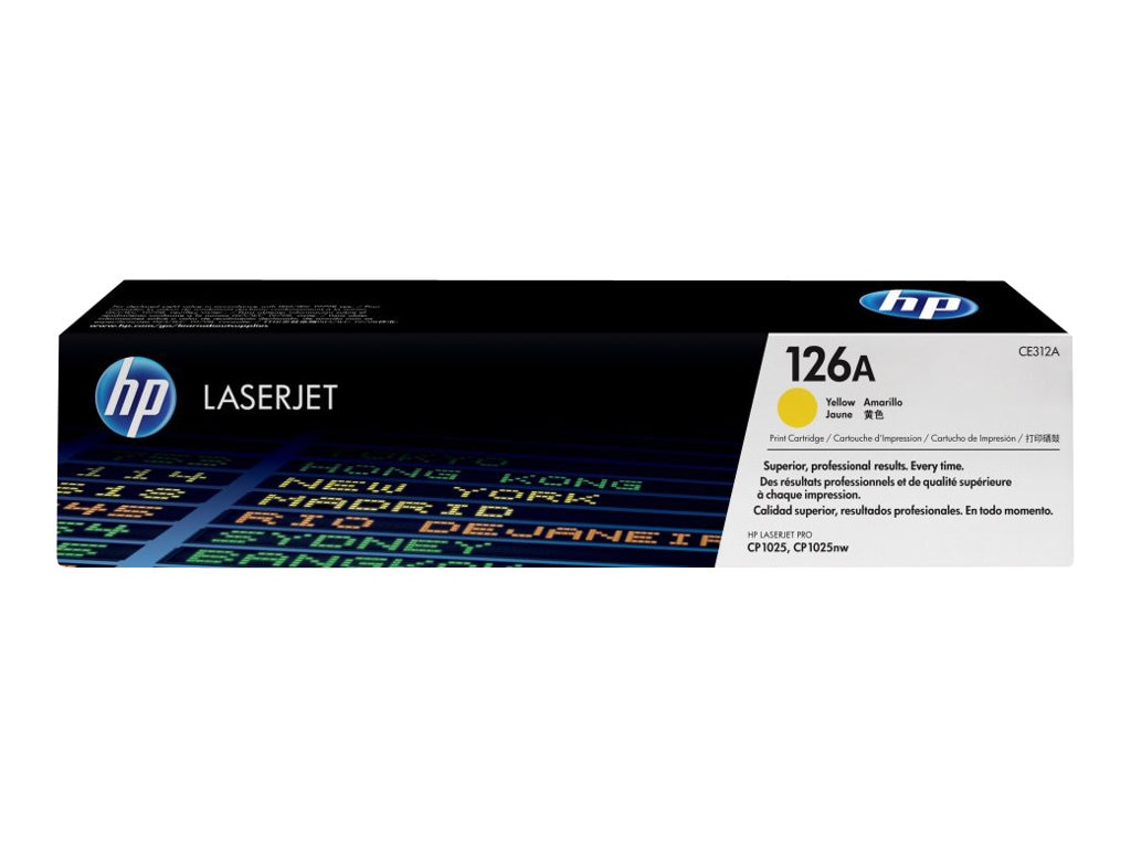 HP 126A (CE312A) Yellow Original LaserJet Toner Cartridge for HP LaserJet CP1000 & Pro 100 Series, CE312A, 12052692, Toner and Imaging Components