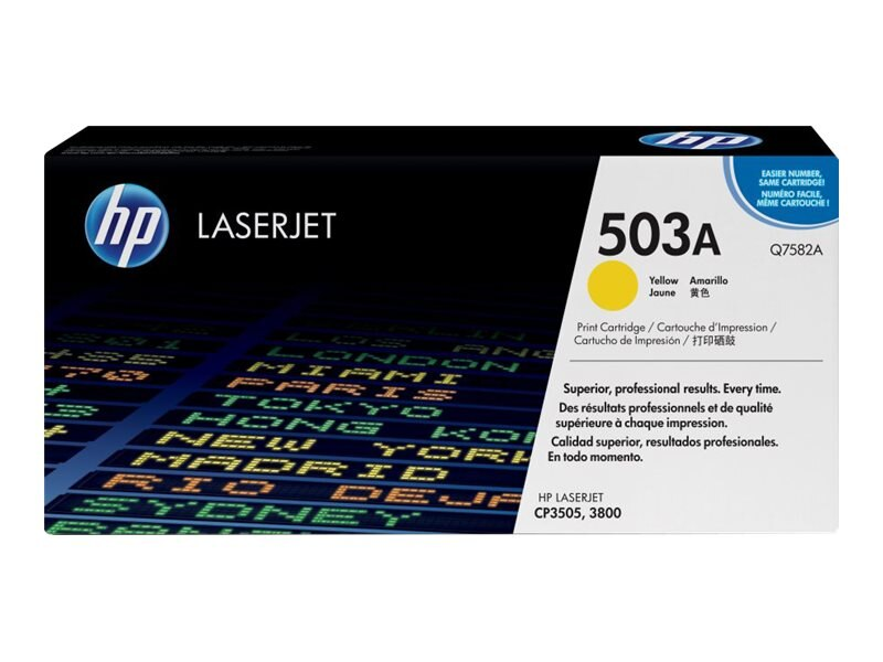 HP 503A (Q7582A) Yellow Original LaserJet Toner Cartridge for HP Color LaserJet 3800 Series Printers, Q7582A, 6133621, Toner and Imaging Components