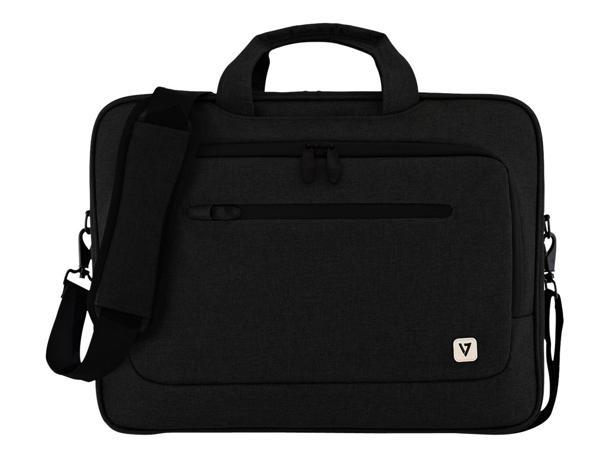 V7 Slim Briefcase w  Trolley Strap for 15.6 Laptop, Black, CTPX1-BLK-1N