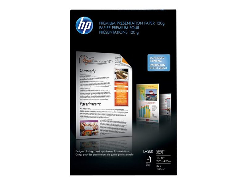 HP 11 x 17 Color Laser Glossy Presentation Paper (250 Sheets), Q2547A, 7465118, Paper, Labels & Other Print Media