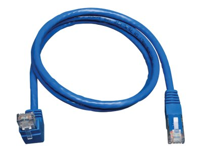 Tripp Lite Cat6 Patch Cable, Upward Angled to Straight, Blue, 10ft, N204-010-BL-UP