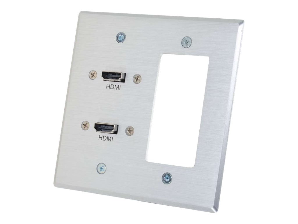 C2G Dual HDMI Pass Through Double Gang Wall Plate with One Decora Compatible Cutout, Aluminum, 39709, 17765907, Premise Wiring Equipment