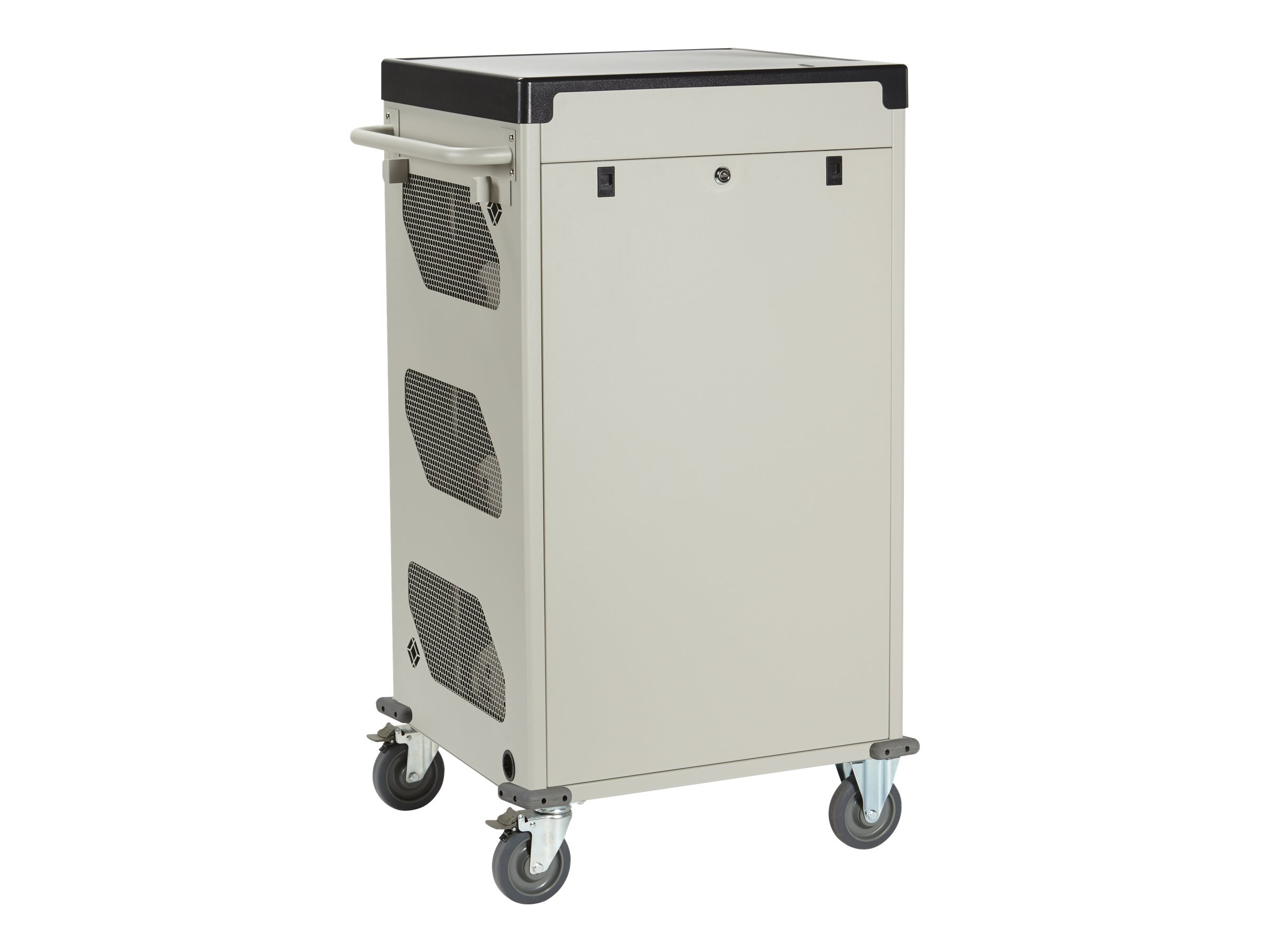 Black Box 30-Unit Deluxe Cart - Syncing & Charging, Sliding Door, Keylock, External Power, UCCSS-10-30TP-S