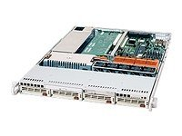 Supermicro Barebone SuperServer 6014P-8RB 1U Rackmount, Dual Xeon, 560W PS, 2PCIE, CD, FDD, 2GBE, U320, Black, SYS-6014P-8RB, 6268788, Barebones Systems