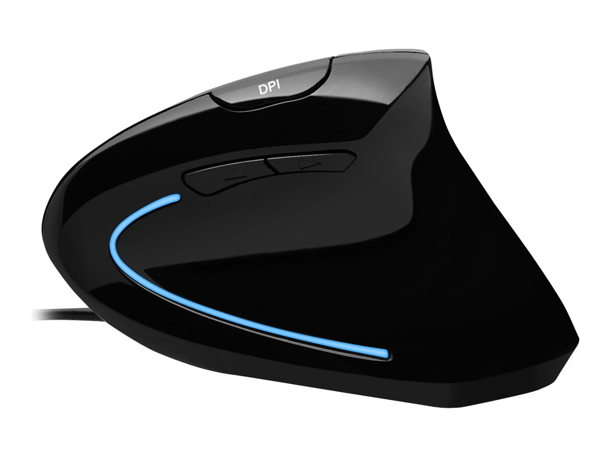Adesso Vertical Illuminated Ergonomic USB Mouse, Contour Shape, IMOUSEE1