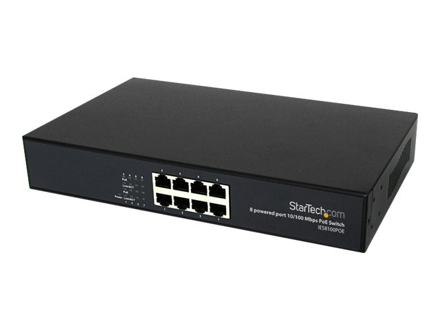 StarTech.com 8-Port 10 100 PoE Power over Ethernet Switch, IES8100POE