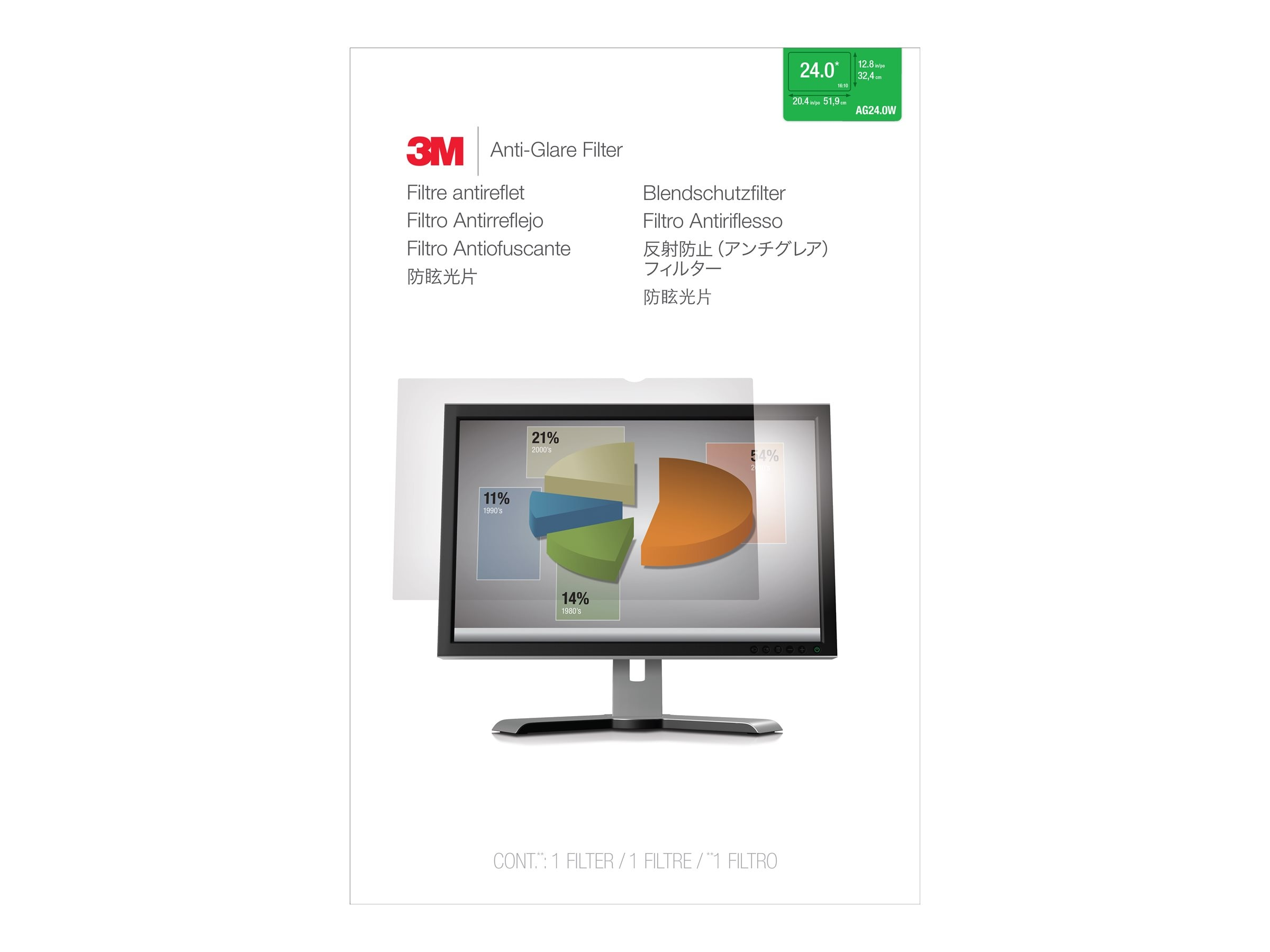 3M AG 24.0W Anti-Glare Filter for 24 16:10 Displays, AG240W1B