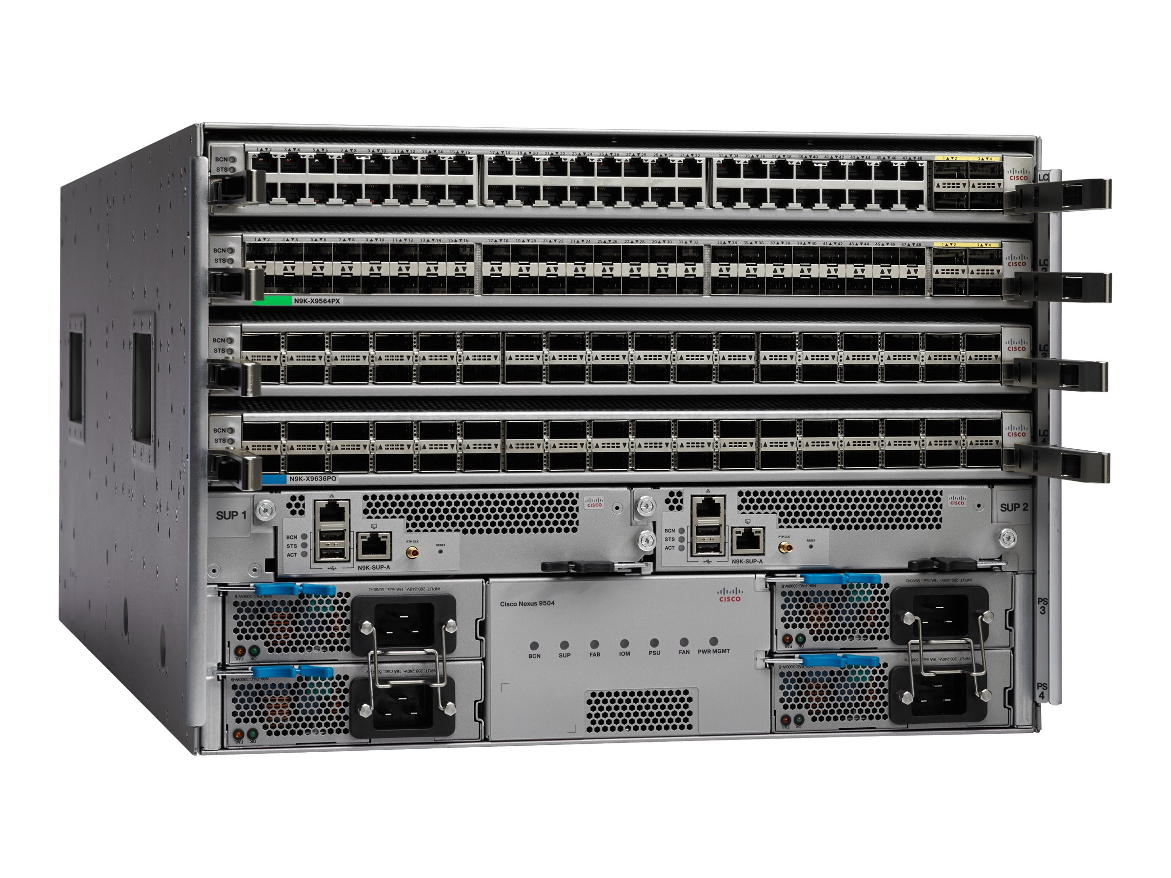 Cisco One Nexus 9504 Chassis w 1xSup 3xPS 3xFan 3xFab Module, C1-N9K-C9504-B2, 30734603, Network Switches