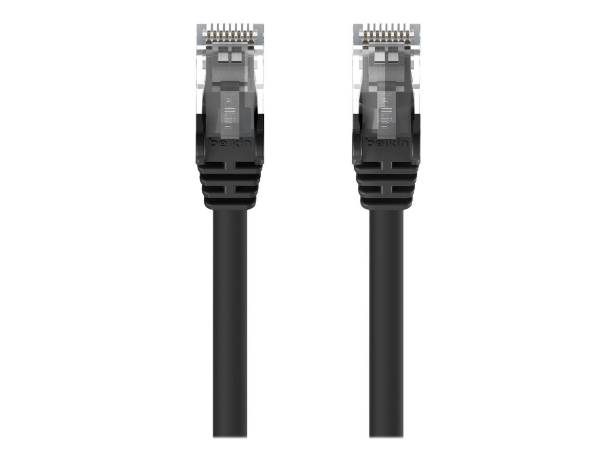 Belkin Cat6 UTP Patch Cable, Black, Snagless, 25ft, Bag and Label, A3L980B25-BLK-S