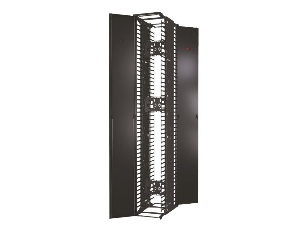 APC Performance Vertical Cable Manager for 2- & 4-post Racks, 84h x 12w, Double-Sided w  Doors, AR8675, 16594245, Rack Cable Management
