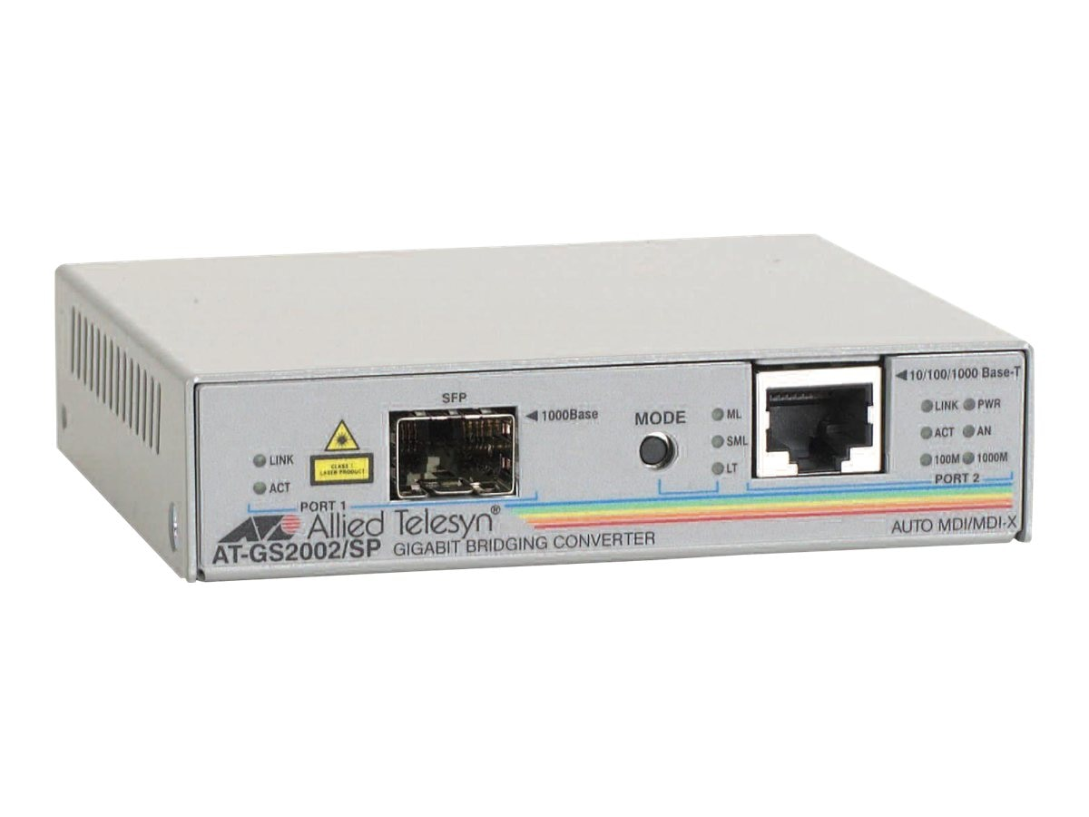 Allied Telesis 10 100 1000Base-T SFP Standalone Bridging Converter LC Connector, AT-GS2002/SP-60, 10124162, Network Transceivers