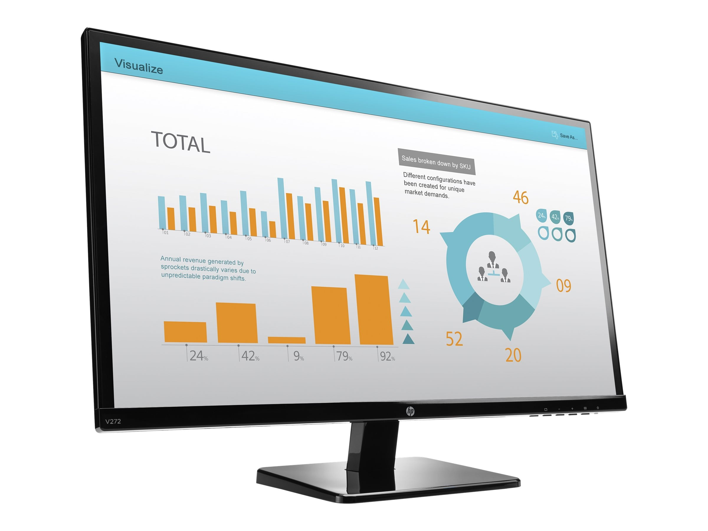 HP 27 V272 Full HD LED-LCD Monitor, Black, M4B78A8#ABA, 27568384, Monitors - LED-LCD