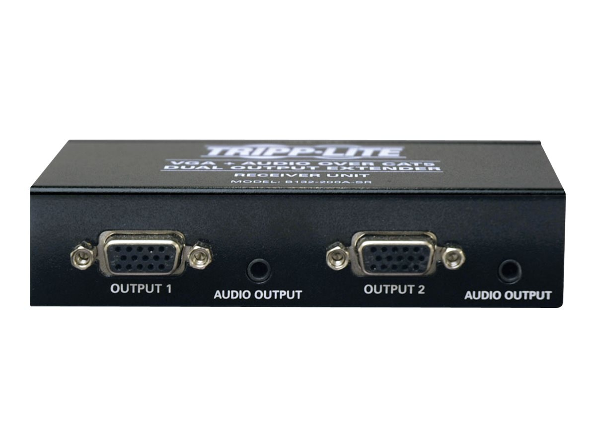 Tripp Lite Dual VGA with Audio over Cat5 Extender, Receiver, Up to 300-ft., B132-200A-SR
