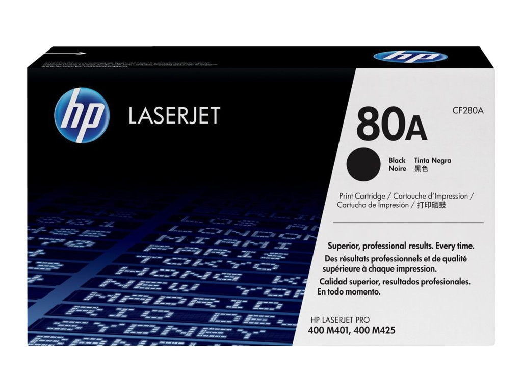 HP 80A (CF280A) Black Original LaserJet Toner Cartridge for HP LaserJet Pro 400 M401 Series, CF280A, 13785564, Toner and Imaging Components