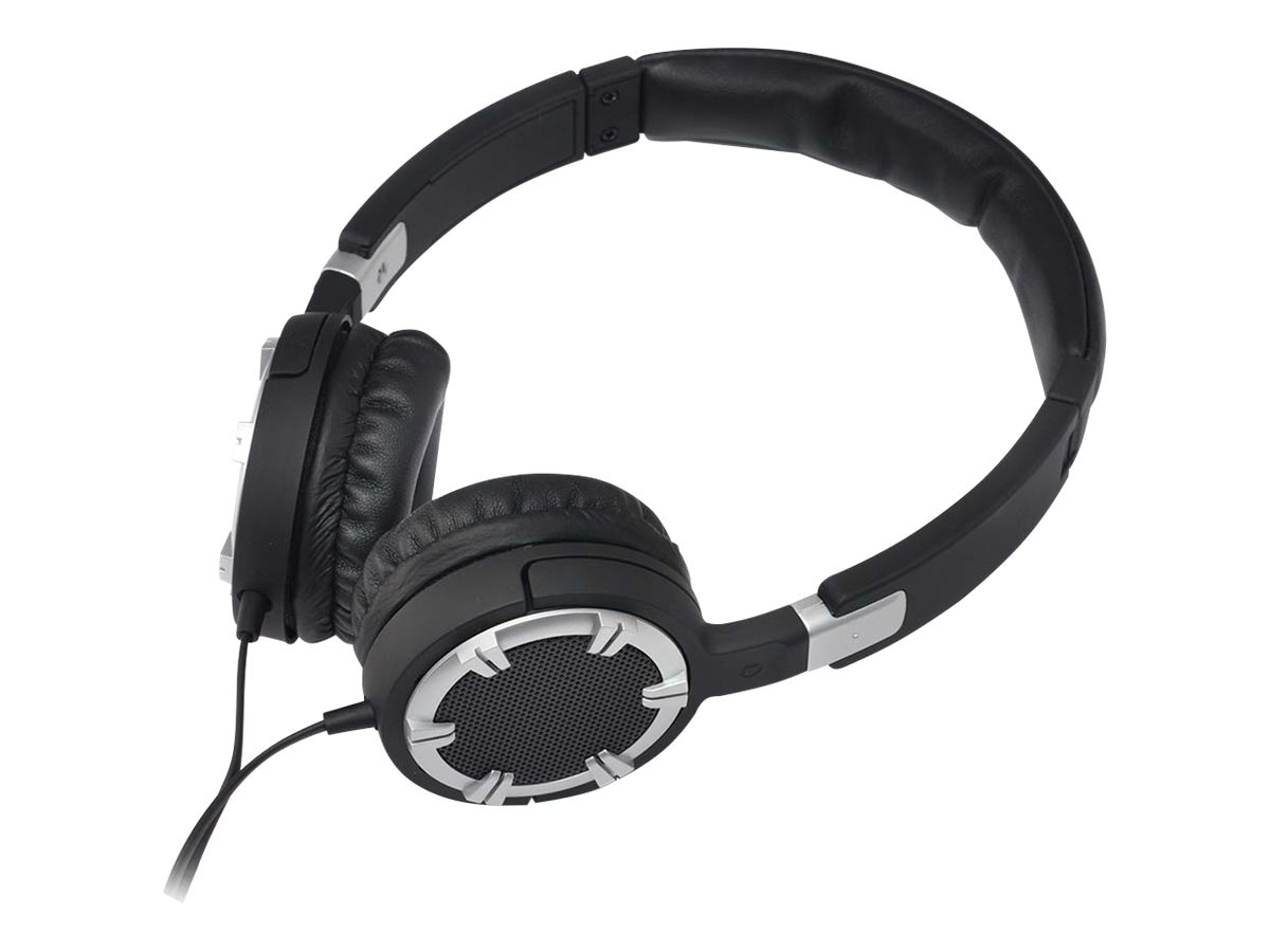 Gear Head Multimedia Dynamic Bass Headphones w  Controller & Mic - Silver