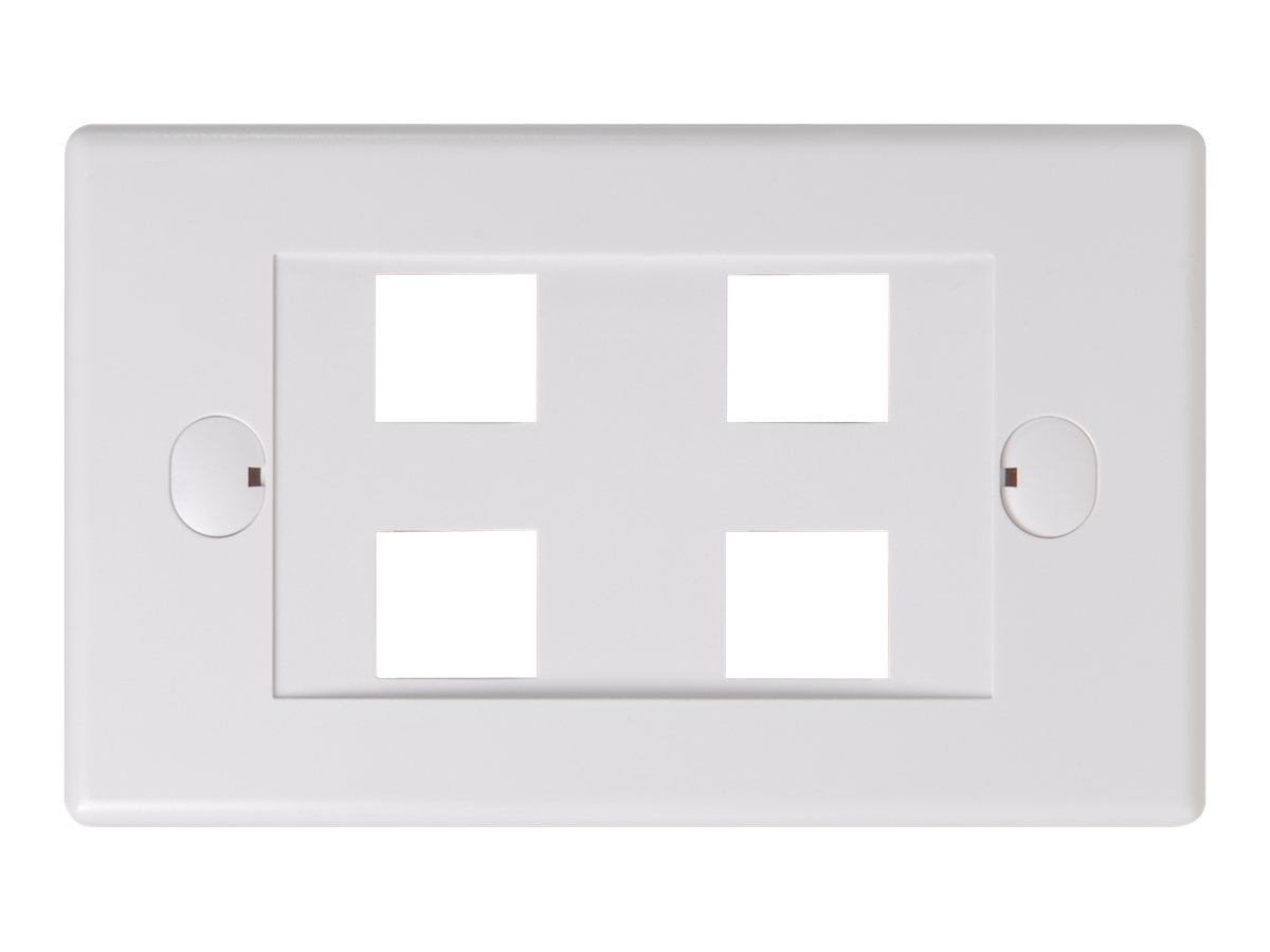 Belkin 4-Port Single-Gang Faceplate, White, F4E456-4-WHT, 7630793, Premise Wiring Equipment