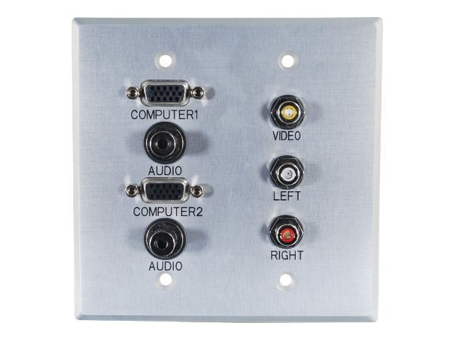 C2G Double Gang (2) HD-15 VGA (2) 3.5mm Composite Video Stereo Audio Wall Plate, Brushed Aluminum, 40508, 11431560, Premise Wiring Equipment