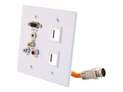 C2G RapidRun Double Gang Integrated VGA (HD15) + 3.5mm + RCA Audio Video + 2 Keystones Wall Plate, White