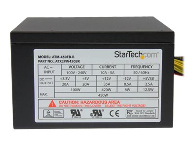 StarTech.com 450 Watt ATX12V 2.3 80 Plus Bronze Computer Power Supply w  Active PFC, ATX2PW450BR