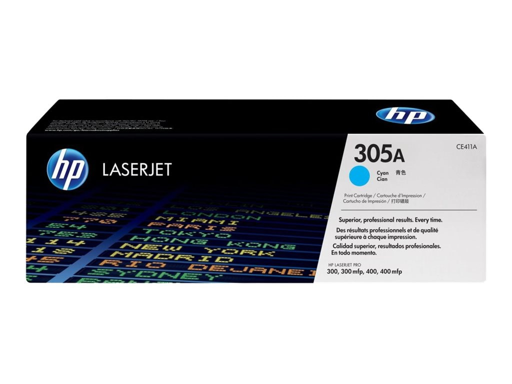 HP 305A (CE411A) Cyan Original LaserJet Toner Cartridge for HP LaserJet Pro Printers, CE411A, 13592084, Toner and Imaging Components