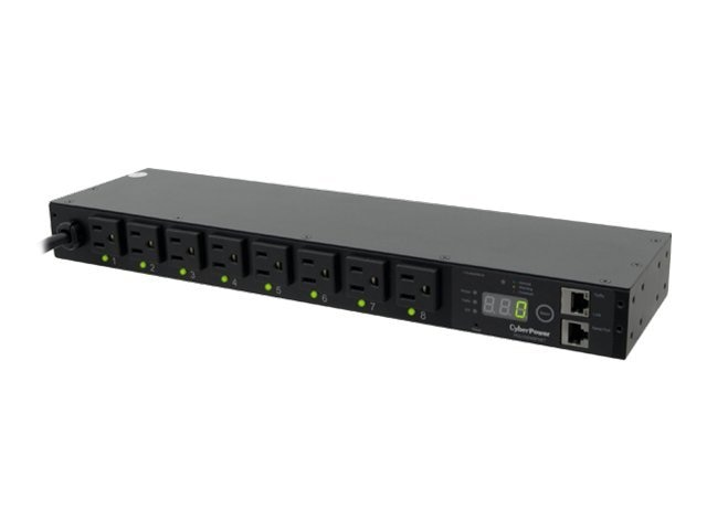 CyberPower Switched PDU 120V 15A 1U RM Digital Display SNMP 5-15P 12ft Cord, PDU15SW8FNET, 13268145, Power Distribution Units