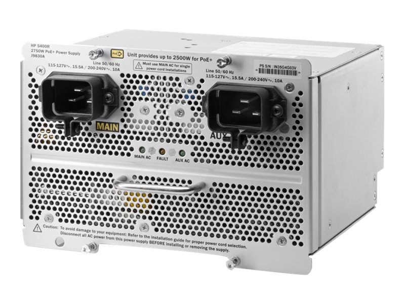 HPE 5400R 2750W PoE+ ZL2 Power Supply US, J9830A#ABA, 17439757, Power Supply Units (internal)