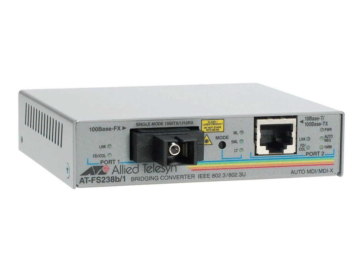 Allied Telesis Single-Fiber 10 100M Bridging Converter w  1310TX 1550RX, 15KM Reach, AT-FS238A/1-60, 11005405, Network Transceivers