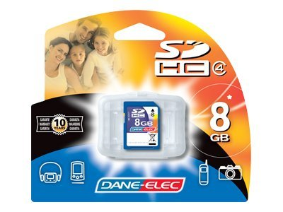 Dane Electronics 8GB SDHC Flash Memory Card, Class 4, DA-SD-8192-R, 13532962, Memory - Flash