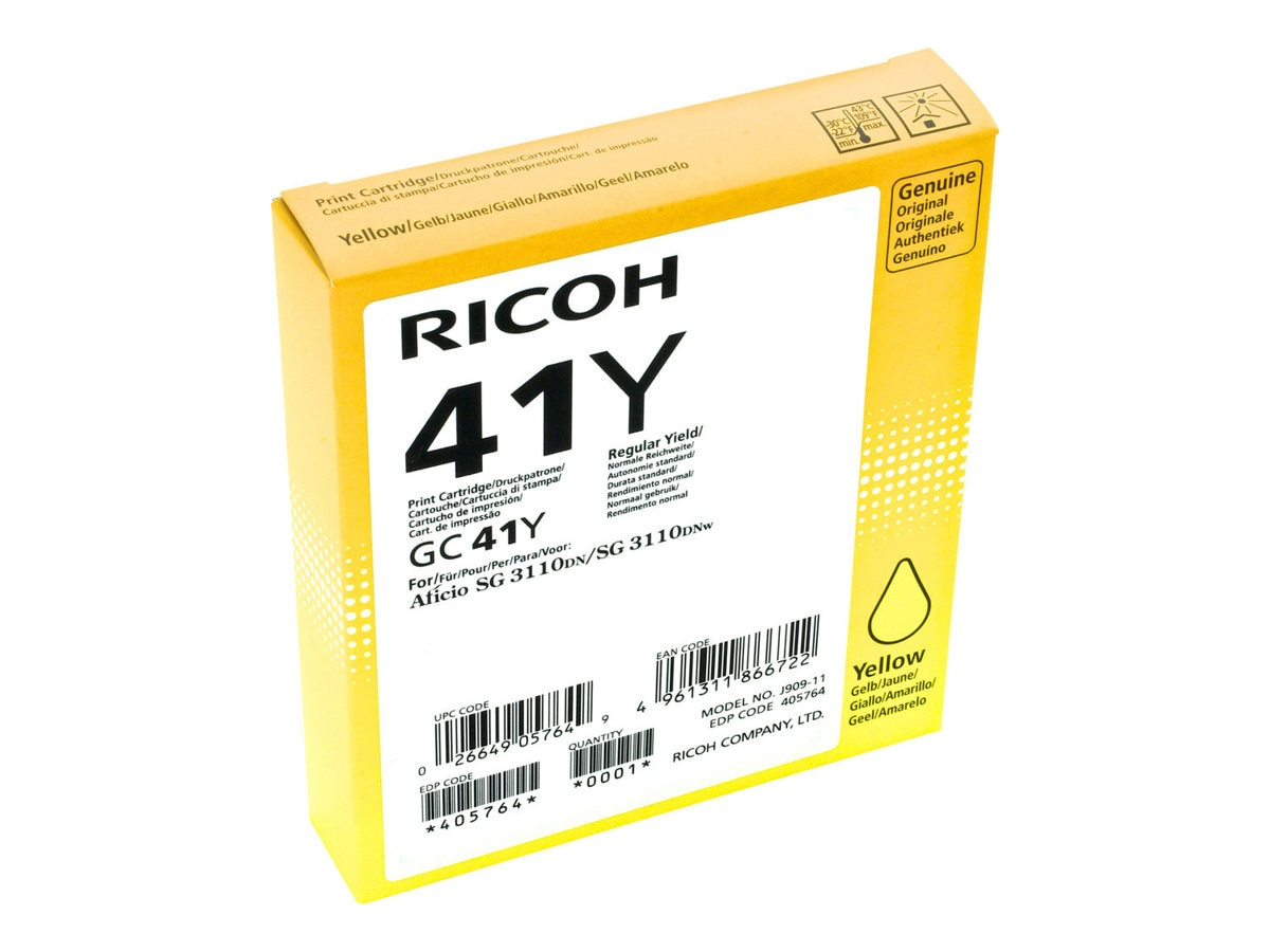Ricoh Yellow GC41Y Print Cartridge, 405764, 13930055, Ink Cartridges & Ink Refill Kits