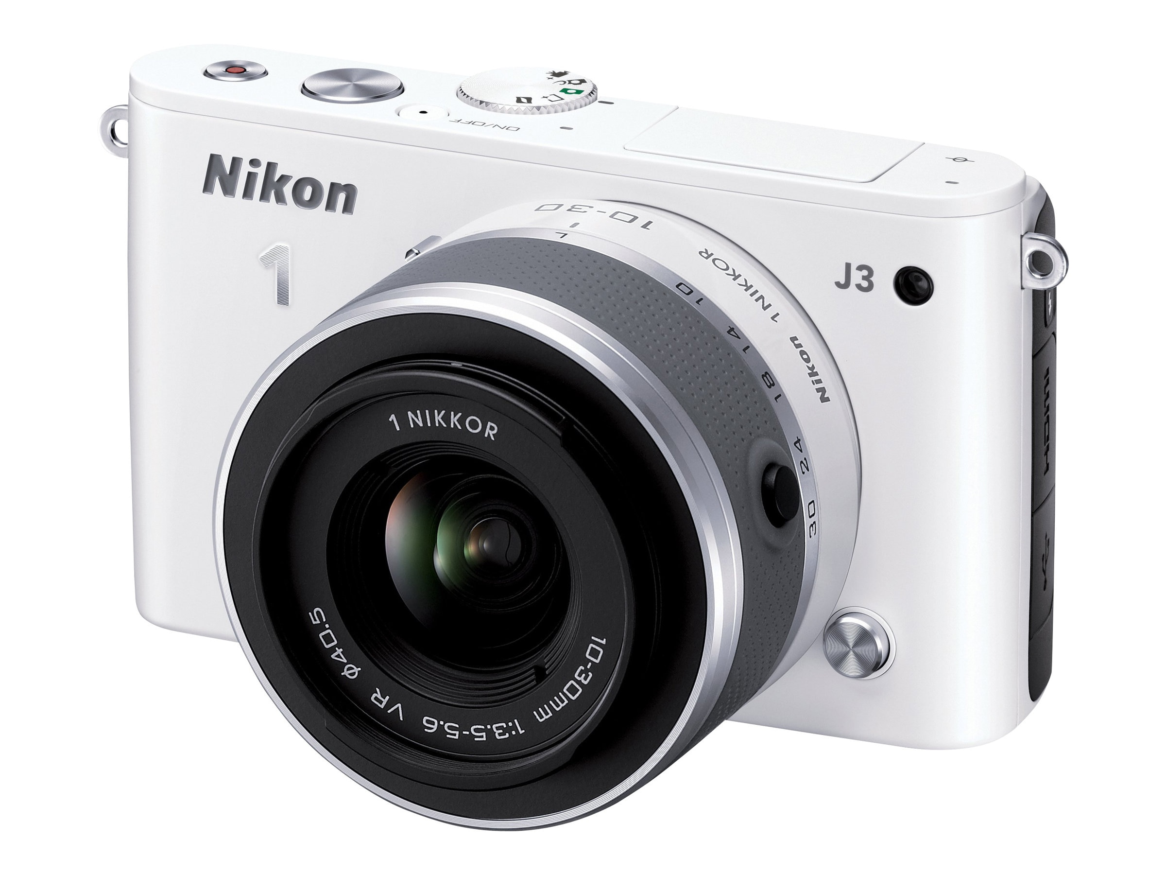 Nikon J3 Interchangable Lens Digital Camera, 14.2MP, White with 10-30mm Lens, 27638
