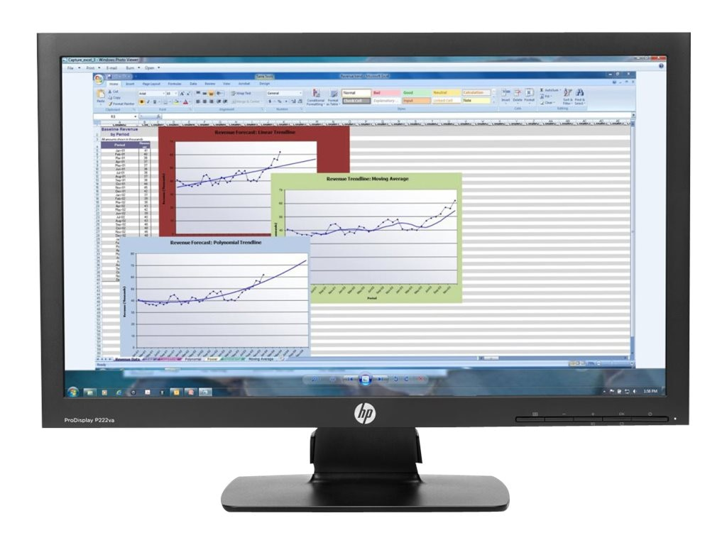 HP 21.5 ProDisplay P222VA Full HD LED-LCD Monitor, Black, K7X30A8#ABA, 18656315, Monitors - LED-LCD