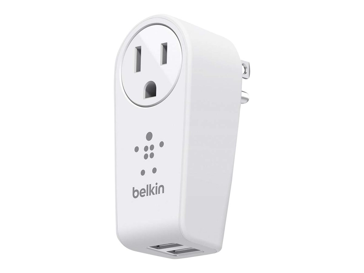 Belkin Boost-Up Swivel Charger, (2) USB Charging Ports + 5-15P Outlet, F8M102TT