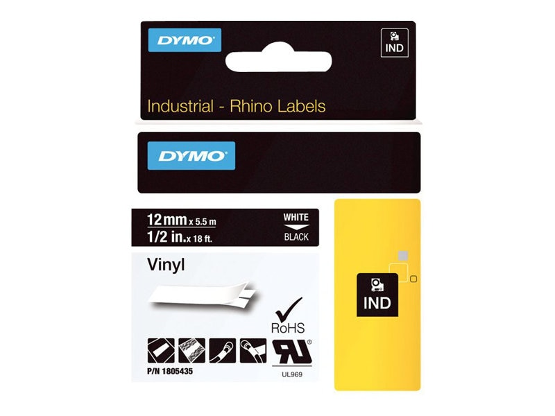 DYMO 1 2 Rhino Black Vinyl Labels, 1805435, 13202357, Paper, Labels & Other Print Media