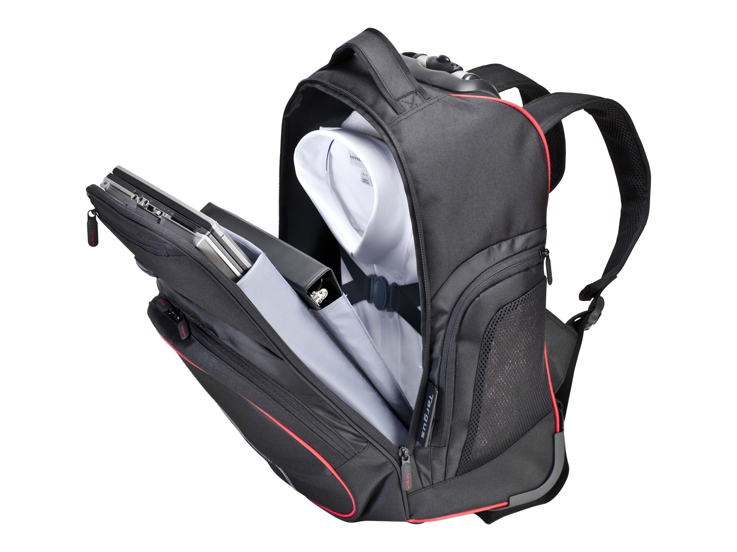Targus 16 Compact Roller Backpack, Red Black