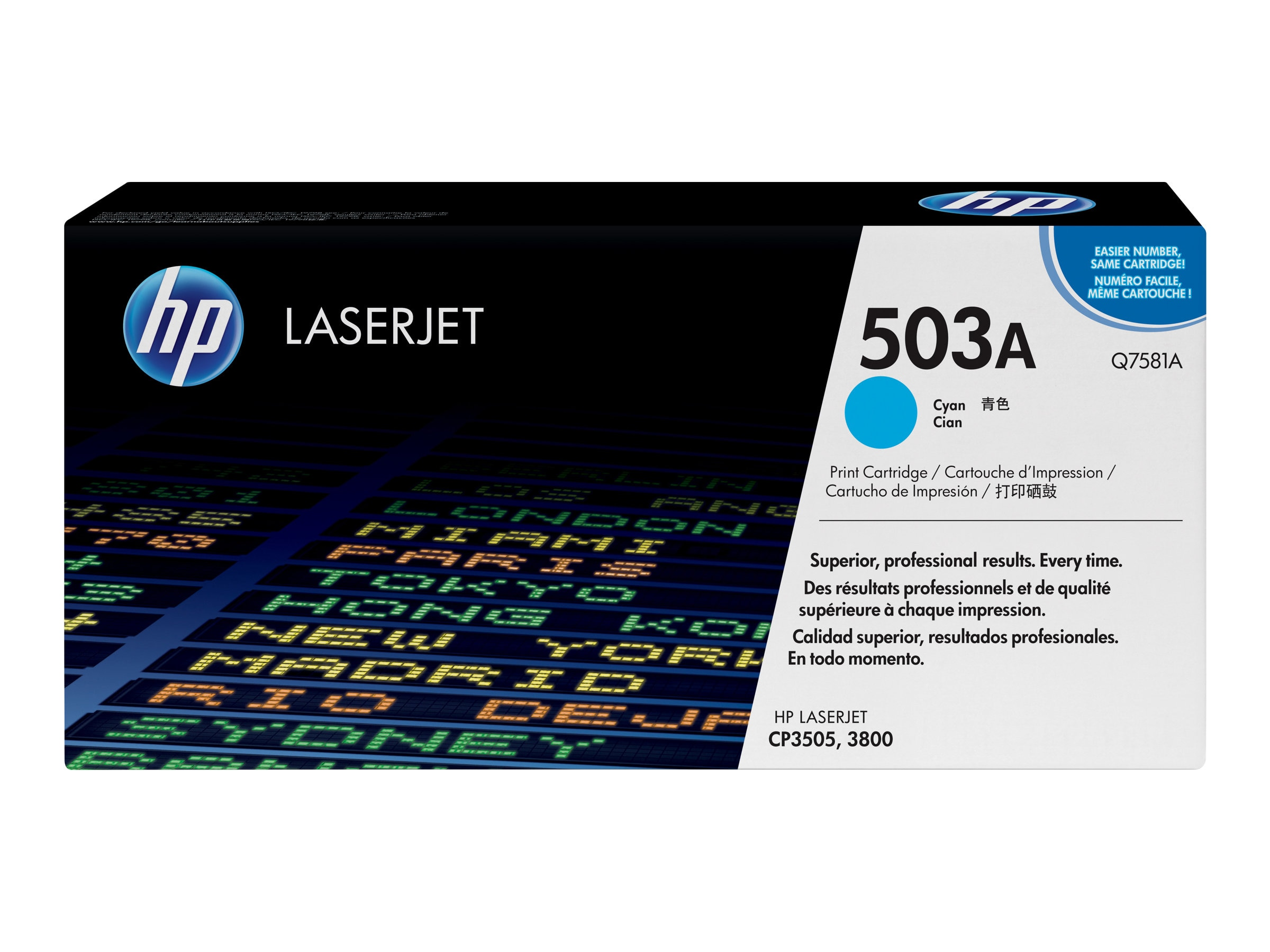 HP 503A (Q7581A) Cyan Original LaserJet Toner Cartridge for HP Color LaserJet 3800 Series Printers, Q7581A, 6133550, Toner and Imaging Components