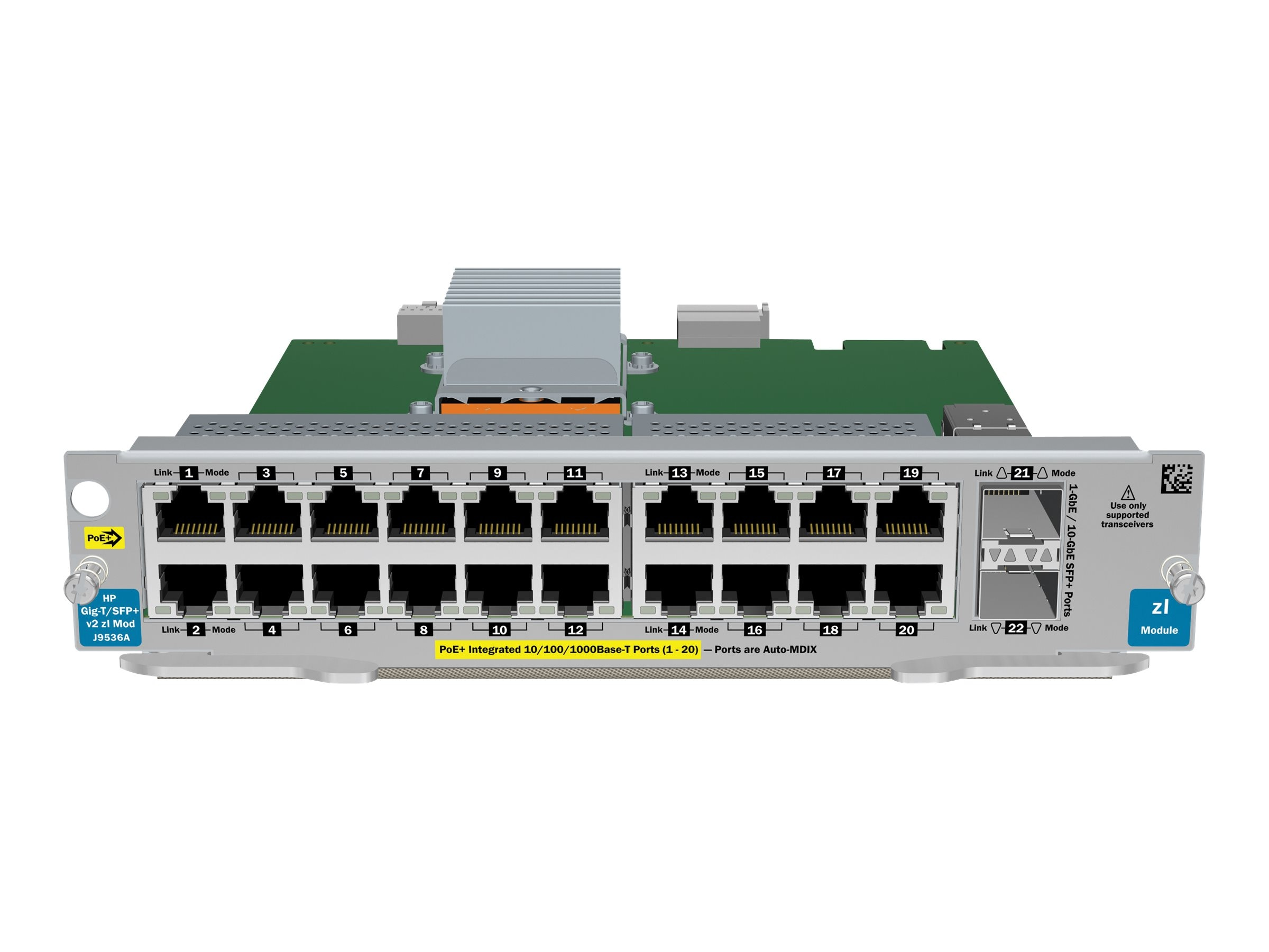 HPE 20Pt. GT PoE+ 2Pt. SFP+-V2 ZL Module, J9536A, 12229961, Network Device Modules & Accessories