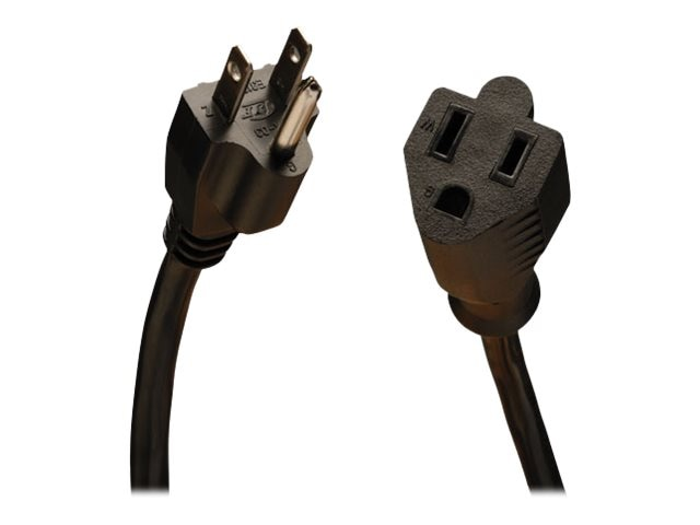 Tripp Lite Standard Power Cord NEMA 5-15P to 5-15R, 120V 10A 18AWG 3-Cond, SJT, Black, 15ft, P022-015, 13173752, Power Cords