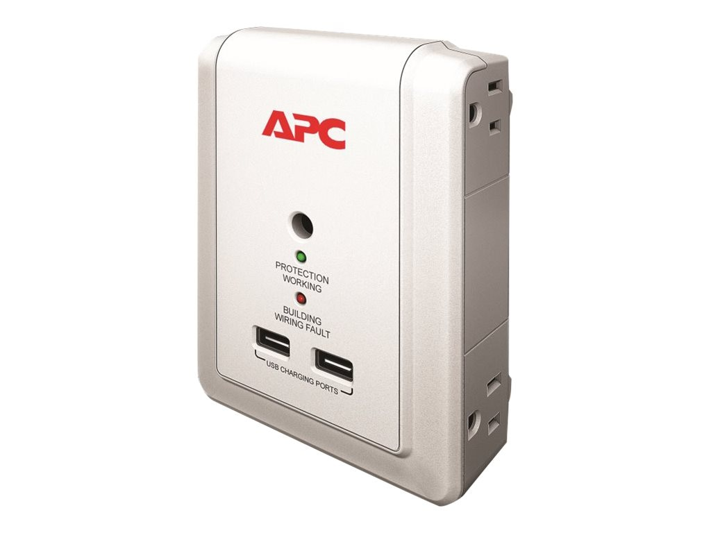 APC Essential SurgeArrest Wallmount Surge Protector with USB Power Adapter, P4WUSB, 12096100, Surge Suppressors